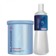 Wella Professionals kit Pó Descolorante Blondor Dust-free 800g + oxidante Welloxon  40 Volume - 1L